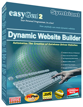 easyGen, Dynamic Web Site Builder, automates the creation of database driven websites, outputs PHP and ASP - to MySQL SQLserver Access Lotus Notes any ODBC or OLE
